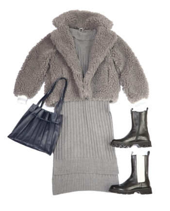 Outfit den trends ganz nah, teddymantel, boots, pollunder, tasche