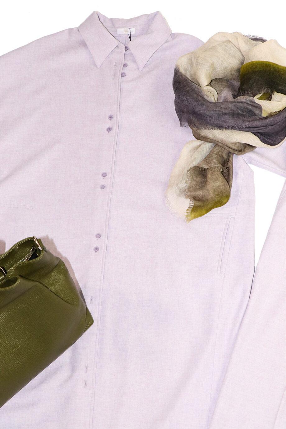 Flieder Herbstträume Outfit Nahaufnahme Pullover Hose Tuch Kleid Tasche